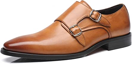 La Milano Mens Double Monk Strap Slip-on Loafer Oxford Formal Business Casual Dress Shoes for Men