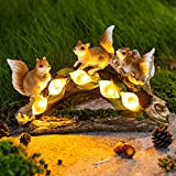 GIGALUMI Garden Squirrel Figurines, Garden Art for Fall Winter Garden Decor, Solar Statue Outdoor Waterproof with 5 Calla Lily Lights Garden Gift for Patio, Lawn, Yard, Housewarming, Thanksgiving
