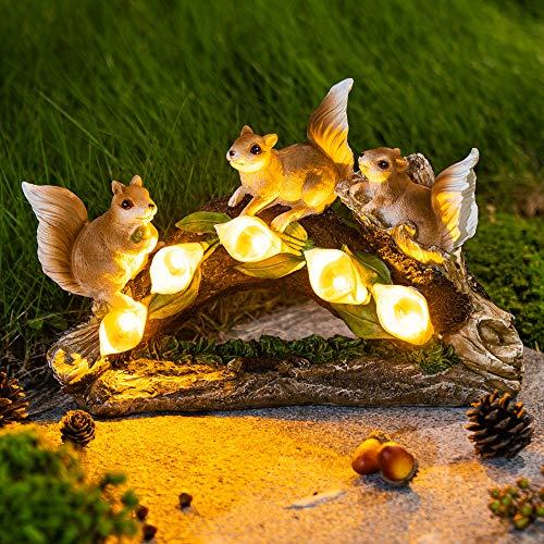 GIGALUMI Garden Squirrel Figurines, Garden Art for Fall Winter Garden Decor, Solar Statue Outdoor Waterproof with 5 Calla Lily Lights Garden Gift for Patio, Lawn, Yard, Housewarming, Thanksgiving