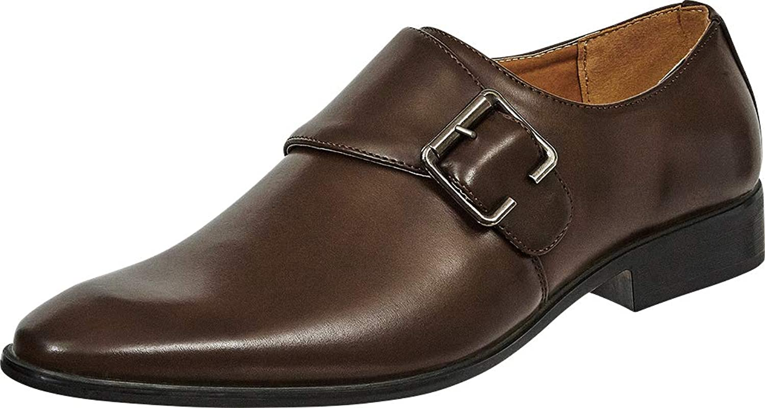 Cambridge Select Men's Pointed Toe Buckled Monk Strap Dress shoes