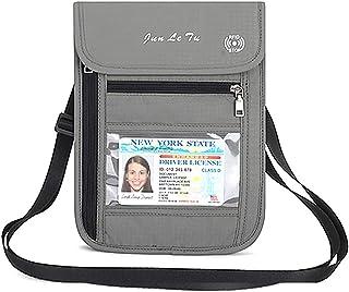 RFID Blocking Stash Neck Wallet, Travel Pouch + Passport Holder for Women & Men, Dark Gray-1 (Grey) - PH07829GY01