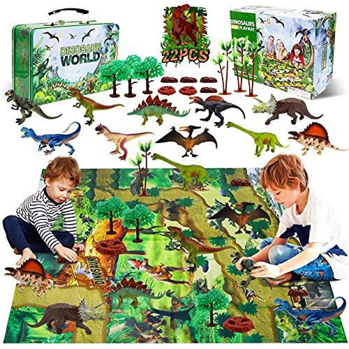 YUNKE Figura de Juguete de Dinosaurio, 22 Piezas para Niños, Juego Realista de Dinosaurio, Aprendizaje Educativo Regalo de Dinosaurio con Tapete de Juego y árboles, T-Rex, Triceratops, Pterosaurio