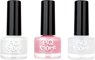 AQMORE Non Toxic Water Based Peel Off Nail Polish - Stays on for Days, Gel-like Shine, Dries in Minutes, Fragrance & Paraben Free, Kid Safe, 2 colors with Top Coat (0.20 fl oz/Bottle) - French Nails