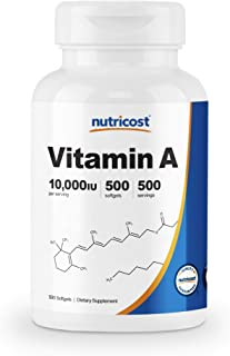 Nutricost ビタミンA 10000 IU、500ソフトカプセル、非GMO、グルテンフリー