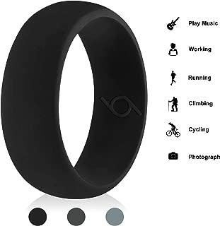 CalMyotis Silicone Wedding Ring for Men, Silicone Rubber Bands – Dome Edge Sleek Design - Black, Dark Grey, LuxuryGrey, Size 13.5-14(23.1mm), Black (Logo Inside)