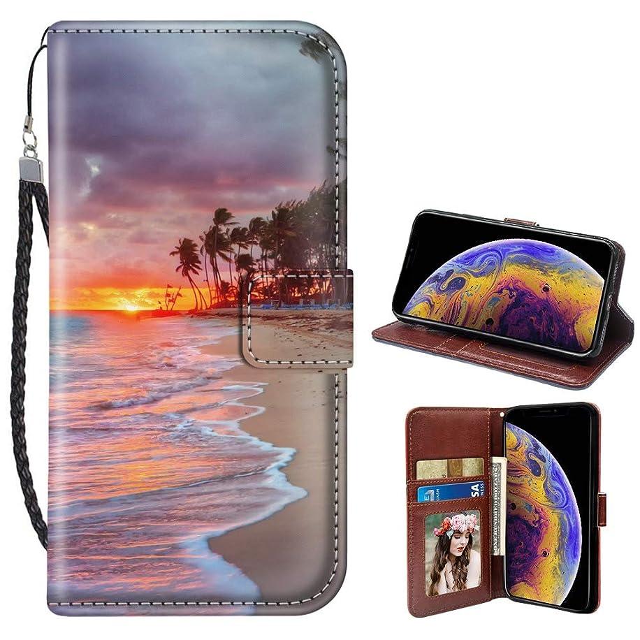 Beach Landscape iPhone Xr Wallet Case JQLOVE PU Leather Flip Magnetic Clasp Multi-Card Slot Wristlet Phone Case for iPhone Xr Beach Landscape