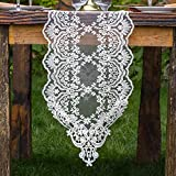 ARTABLE Rectangle Table Runner Dresser Scarf Lace Macrame Embroidered Table Runners with Exquisite Vintage Shabby Chic for Holiday Wedding Long Dinner Tables (White, 12''X84''(30X210cm))