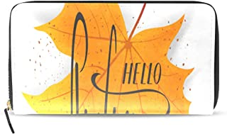 Hello Autumn Fall Harvest Season Long Passport Clutch Purses Zipper Wallet Case Handbag Money Organizer Bag Credit Card Holder For Lady Women Girl Men Travel Gift