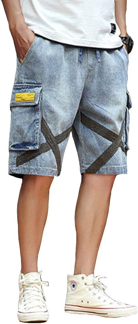 ONLYWOOD Men Summer Cargo Denim Shorts Flex Waist with Pockets Straight Fit Jeans