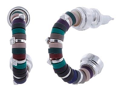 Kendra Scott Reece Huggie Earrings (Bright Silver Neutral Mix) Earring