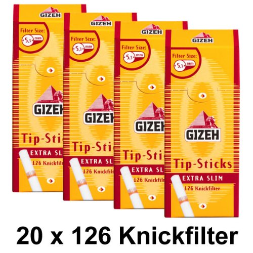 20 Packungen Gizeh Tips Sticks Extra Slim 5,3mm Knickfilter (20x126) Filter