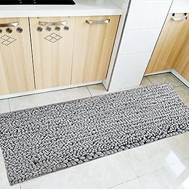 Fashion Dream Long Bath Rug Shag Kitchen Rug Microfiber Bath Mat Grey 16 x 47-Inches
