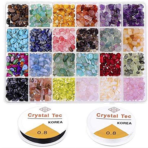 Berrywho 1 Box 24 cuadrículas joyería y Accesorios Combinados Juego Coloridos Granos Piedras para la joyería del Arte de DIY