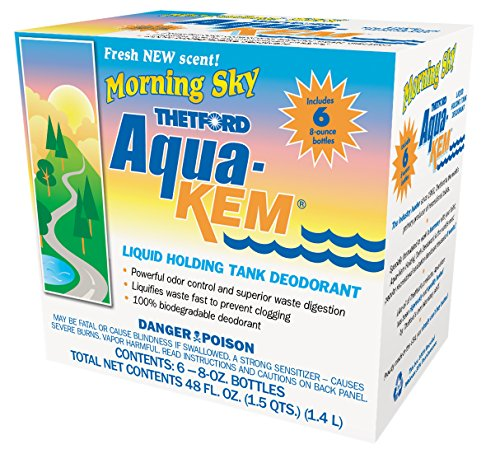 Aqua-Kem Morning Sky RV holding tank treatment - deodorant | waste digester | detergent - 8 oz, Thetford 96127  (Pack of 6)