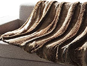 Mellanni All-Year-Round Faux Fur Throw, Will Not Shed! Super Soft, Comfy - Makes Luxurious Gift - Enhance Your Home Décor - Use for Travel - Multicolor Brown Coffee