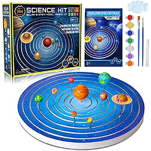 Solar System Model Kit for Kids, Painting Planets Glow in The Dark Toys, STEM Project Science Educational Gift for Boys and Girls