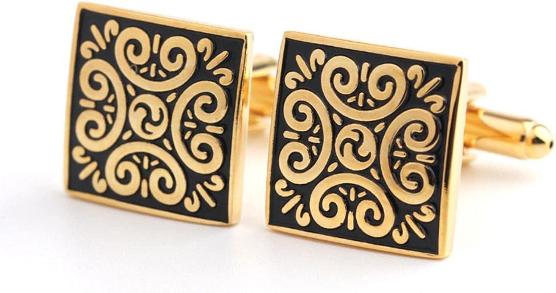 BO LAI DE Cufflinks Square Vintage Pattern Gold Cufflinks Men's Shirt Cufflinks Suitable for Business Events, Meetings, Dances, Gift Boxes, Gold
