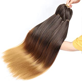 3 Tone Pre Stretched Braiding Hair, 28 Inches Ombre Yaki texture Braid Hair Extensions, 6 Bundles 100% Top Quality Kanekal...