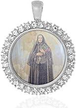 St Francesca Cabrini Religious Round Medal Silver Tone Pendant with Rhinestones