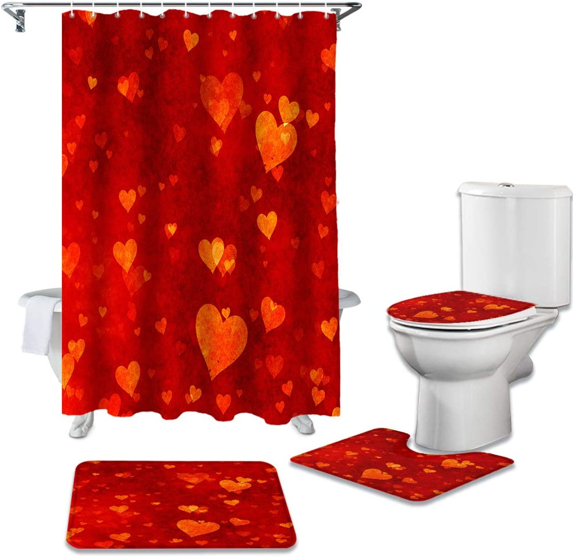 CHARMHOME 4 Spring new work Ranking TOP5 Piece Shower Curtain Sets Non-Slip Toilet Rug with