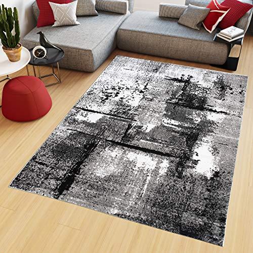TAPISO Maya Alfombra de Salón Sala Comedor Diseño Moderno Blanco Gris Negro Moteado Delgada Pelo Corto 180 x 250 cm