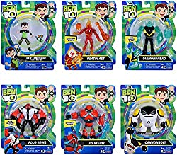 Includes 6 of the most popular characters from the series! Ben & Grey Matter, Heatblast, Diamondhead, Four Arms, Cannonbolt, & Overflow! It's the ultimate gift for any Ben 10 fan! Figures are all new production in sealed blister card packages! Figure...