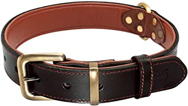PET ARTIST Genuine Thick Leather Dog Collar for Large Medium Dogs,Heavy Duty Soft Padded Pet Collars for German Shepherd Pitbull Labrador Boxer, Alloy Accessories(Classic Black Color)