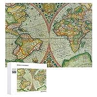 INOV 世界 旧式な地図 ジグソーパズル 木製パズル 500ピース キッズ 学習 認知 玩具 大人 ブレインティー 知育 puzzle (38 x 52 cm)