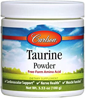 Carlson - Taurine Powder, Free Form Amino Acid, Cardiovascular Support, Nerve Health & Muscle Function, 100 Grams