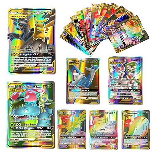 Dorara 100 Piezas Pokemon GX Flash Tarjetas Style TCG Holo Puzzle Card Game Fun, Pokemon Tarjetas Unbroken Bonds Tag Team Packs, Trading Tarjetas Game, 2019 Nuevo