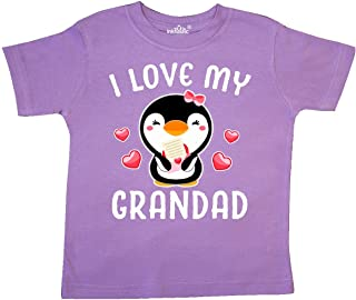 inktastic I Love My Grandad with Cute Penguin and Hearts Toddler T-Shirt