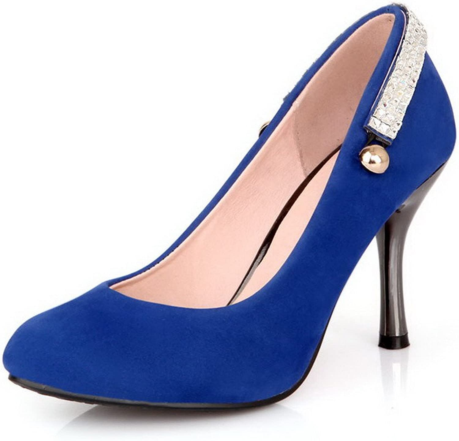 WeenFashion Women's Solid Imitated Suede High-Heels Pointed Closed Toe Pull-on Pumps-shoes