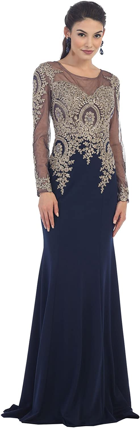 By Formal Dress Shops Inc FDS7479 Long Sleeve Evening Gown for All Ages