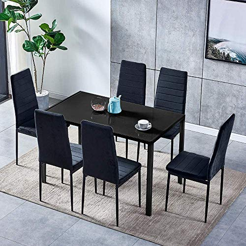 Comedor muebles de cocina traje de cuero artificial de mesa y sillas,1 table 6 chairs