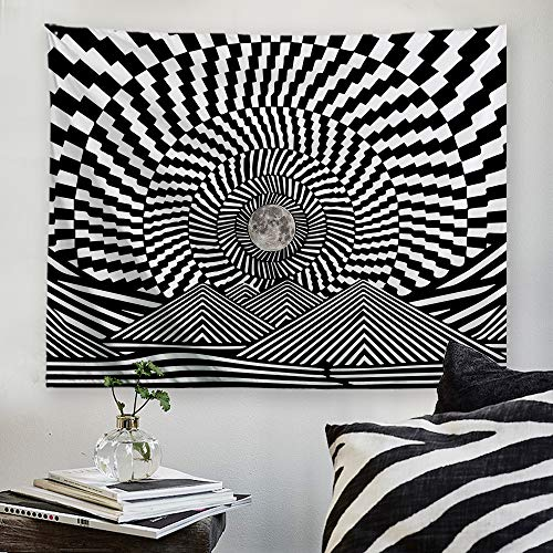 "PROCIDA Trippy Tapestry Black and White Moon Moutain Wall Tapestry for Dorm Bedroom Living Room College Nails Included 60"" W x 51"" H, Trippy Moutain Moon"