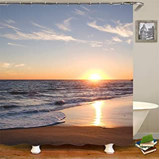 Shower Curtain Set with Hooks Soap Mildew Resistant Waterproof Beautiful Ocean Sunset Scenery Beach Gold Bathroom Decor Machine Washable Antibacterial Polyester Fabric Bath Curtain 71 x 71 inches