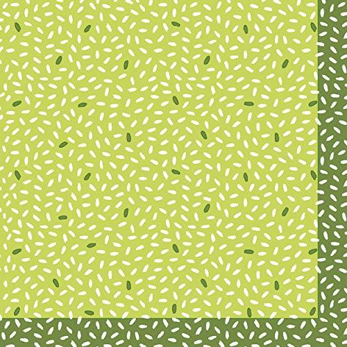 Duni 188558 - Cocktail Servietten Rice Green, Größe 24x24 cm, 20 Stück, 3-lagig, Grün, Mundtuch, Mundserviette, Partygeschirr, Tischdekoration, Geburtstag, Gartenparty