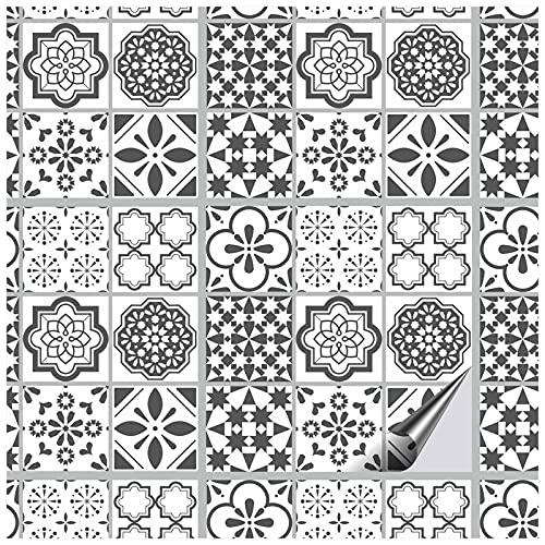 FoLIESEN Azulejo Lisboa - Adhesivo para azulejos de baño, cocina, baño, 16 azulejos adhesivos, 15 x 15 cm
