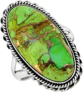 YoTreasure Green Copper Turquoise Solid 925 Sterling Silver Ring Genuine Gemstone Jewelry For Women or Girls