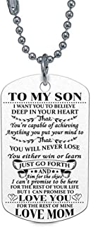 Guoshang Inspirational Stainless Steel to My Son from Mom Pendant Necklace Letter Tag Gifts for Daughter Navy Coast Guard Necklace Ball Chain Gift for Best Daughter Birthday Graduation