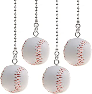 PENCK Fan Pull Chain Decorative Ceiling Light Fan Pull Chains Ornament Set 12 inchesSilver Tone Chains Baseball Pendant Pendant for Ceiling Lights, Fans, Durable and No Rust, Pack of 4