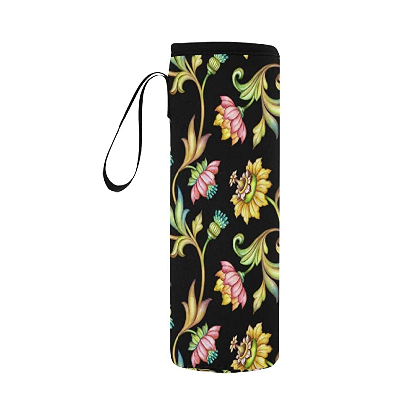 INTERESTPRINT Watercolor Floral Pattern Neoprene Water Bottle Sleeve Insulated Holder Bag 16.90oz-21.12oz, Vintage Flowers Sport Outdoor Protable Cooler Carrier Case Pouch Cover with Handle