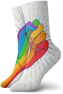 Arco Iris De Color Mano Con Un Puño Levantado. Orgullo gay. Calcetines deportivos cortos Lgbt Concept Fashion 30Cm