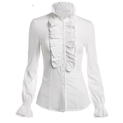 e7f4ed0ad62ad9 DEARCASE Women Stand-Up Collar Lotus Ruffle Shirts Blouse