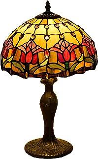 DSMGLRBGZ Lampe De Bureau Vintage Verre, (W30cm H49CM) Base en Aluminium Abat Jour en Vitrail Art Deco Chambre pour Salle ...