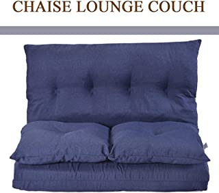 Chaise Lounge - New Folding Out Lounge Sofa Chair Adjustable Floor Couch Better for Birthday Halloween Christamas New Year(Double Chaise Lounge, Navy Blue)