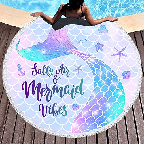 Bonsai Tree Mermaid Beach Towel, Mermaid Tail Large Round Beach Towel with Tassels, Mermaid Scales Beach Blanket Sand Proof Oversized Gifts for Women Girls 59 Inches