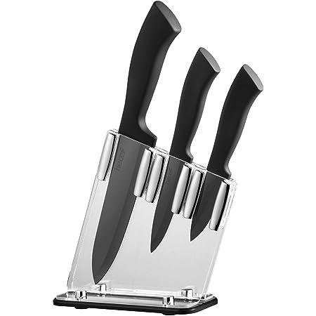 hecef Lot de 3 Couteaux en céramique avec Support en Acrylique, Lot de Couteaux en céramique Noir