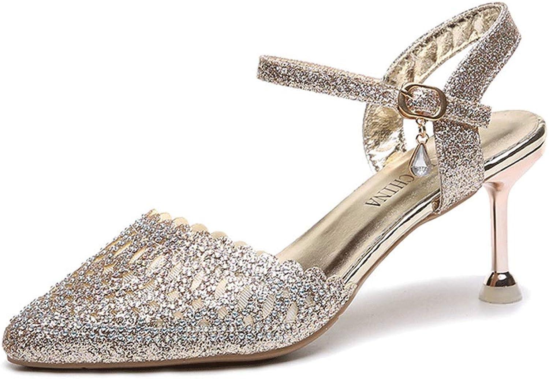 2dc54faec6b58 Pointed Shallow Sandals Sequined High Heel Ladies Wedding Stiletto ...