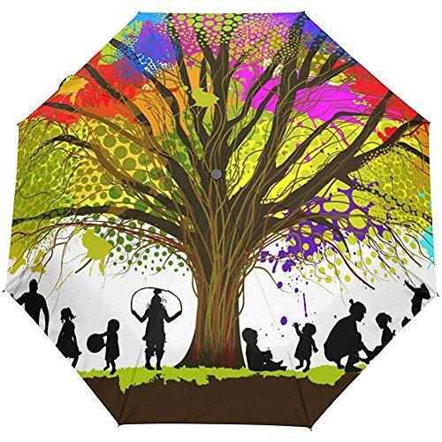 Weinlese-Abstrakter Hippie-Baum-Bonbon-Ausgangsfamilien-Auto-Öffnen-Schließen-Regenschirme Anti-UV, die kompakten automatischen Regenschirm Falten